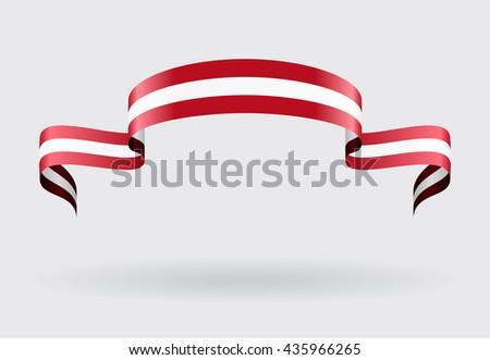 Austrian flag wavy abstract background. Vector illustration. - stock vector