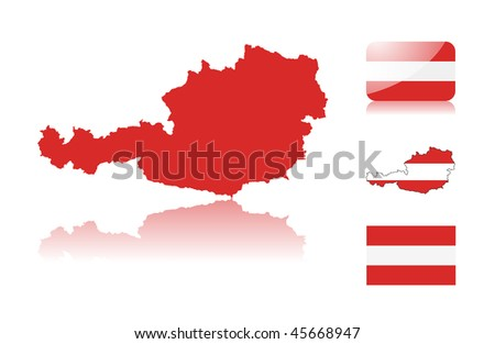 Austrian map including: map with reflection, map in flag colors, glossy and normal flag of Austria. - stock vector