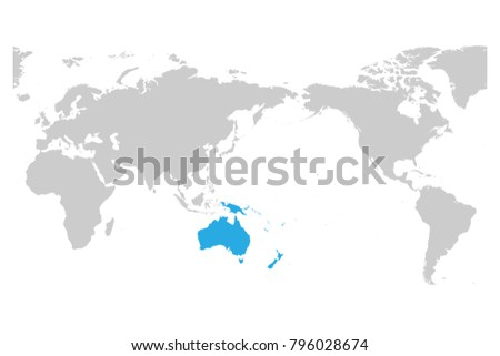 Austtralia And Oceania Continent Blue Marked In Grey Silhouette Of World Map.  Simple Flat Vector