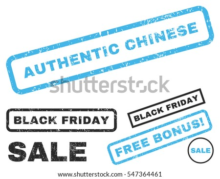 Authentic Chinese rubber seal stamp watermark with additional design elements for Black Friday offers. Vector blue and gray emblems. Tag inside rectangular banner with grunge design and dust texture.
