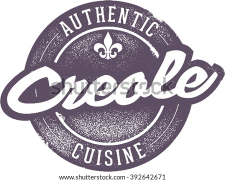 Authentic Creole Cuisine Food Stamp - stock vector