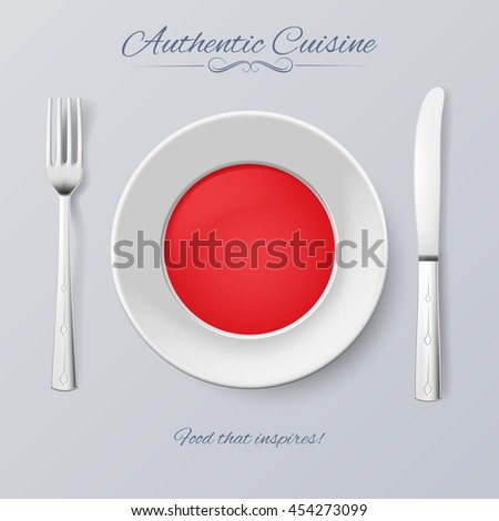 Authentic Cuisine of Japan. Plate with Japanese Flag and Cutlery