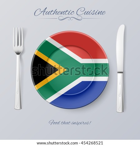 Authentic Cuisine of South Africa. Plate with Flag and Cutlery