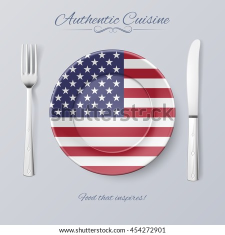 Authentic Cuisine of USA. Plate with American Flag and Cutlery