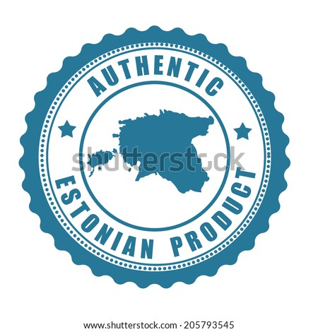 Authentic Estonian product stamp or label with map of Estonia inside , vector illustration - stock vector