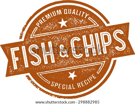 Authentic Fish and Chips Restaurant Menu Stamp - stock vector