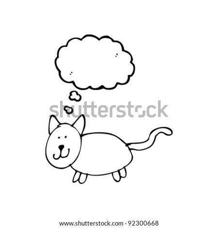 authentic looking child's drawing of a cat with thought bubble