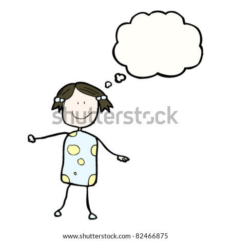 authentic looking child's drawing of a happy girl - stock vector