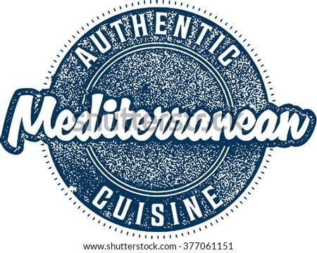 Authentic Mediterranean Cuisine Menu Food Stamp - stock vector