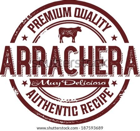 Authentic Mexico Arrachera Skirt Steak Stamp - stock vector