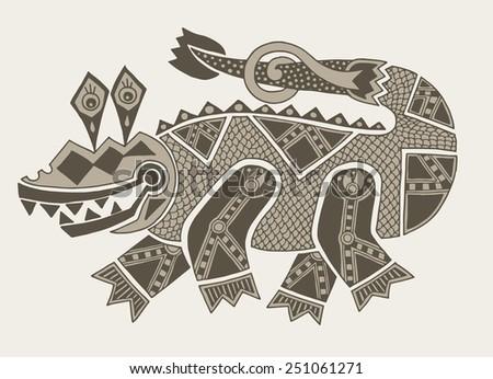 authentic original decorative drawing of crocodile, vector illustration - stock vector