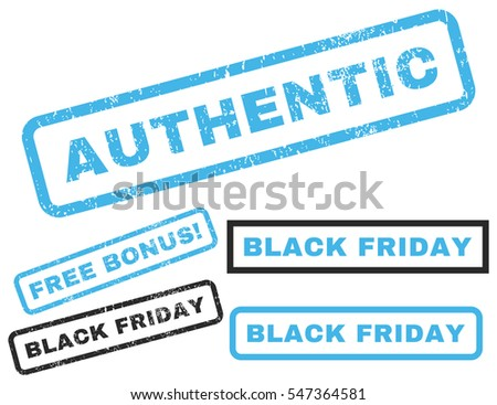 Authentic rubber seal stamp watermark with bonus images for Black Friday sales. Vector blue and gray emblems. Caption inside rectangular banner with grunge design and scratched texture.