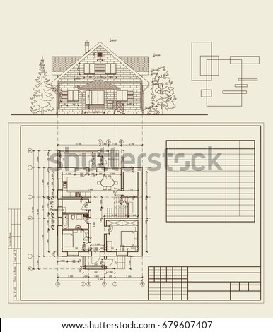 Authors Design Residential House Blueprint Plan Stock Vector ...