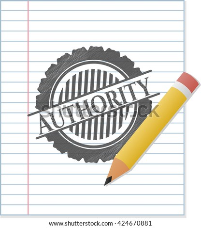Authority drawn in pencil - stock vector