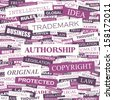 AUTHORSHIP. Background concept wordcloud illustration. Print concept word cloud. Graphic collage with related tags and terms. Vector illustration.  - stock vector