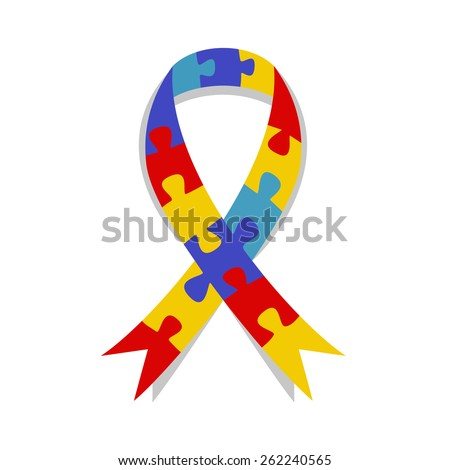 Autism awareness ribbon, puzzle patter, vector illustration symbol - stock vector