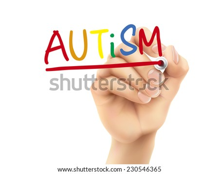 autism word written by hand on a transparent board - stock vector
