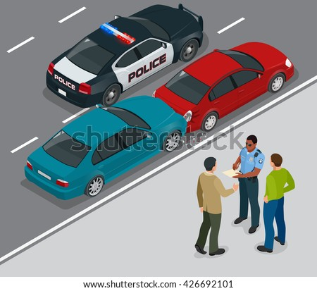Auto accident involving two cars on a city street. Traffic policeman in car accident scene. Two Drivers Arguing After Traffic Collision. 3d vector isometric illustration - stock vector