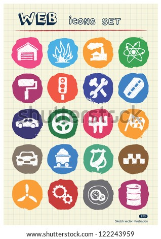 Auto and energy web icons set drawn by chalk. Hand drawn vector elements pack isolated on paper