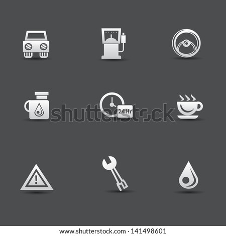 Auto car and pump station icons,vector - stock vector
