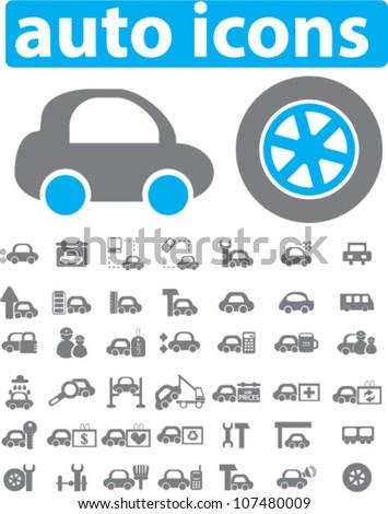 auto & car icons set, vector - stock vector