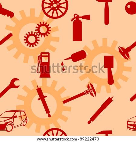 Auto Car Repair Service Icon Symbol. Seamless wallpaper. - stock vector