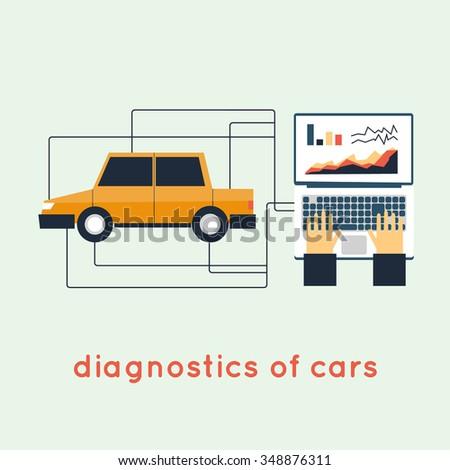 Auto Diagnostics. Flat style vector illustration - stock vector