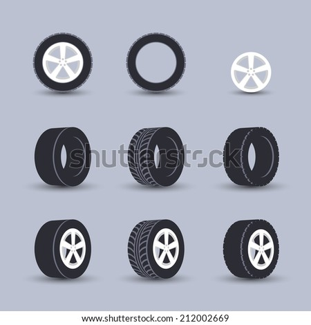 Auto garage wheels disk montage and installation winter tires replacement service black  icons set isolated vector illustration - stock vector