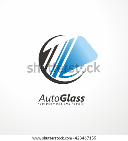 Auto Glass creative logo design idea. Windshield vector symbol concept. Service and repair. Cars and transportation maintenance icon layout. Car parts. - stock vector