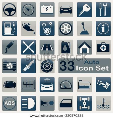 Auto icon set for app and web design - stock vector