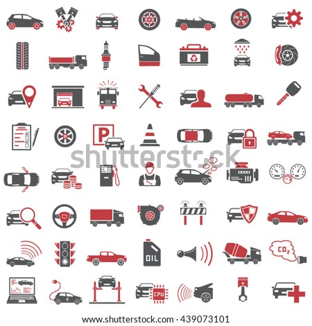Auto Icons in Red and Black Color - stock vector