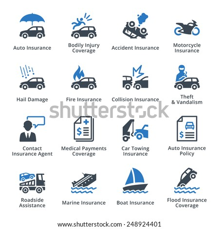 Auto Insurance Icons - Blue Series - stock vector