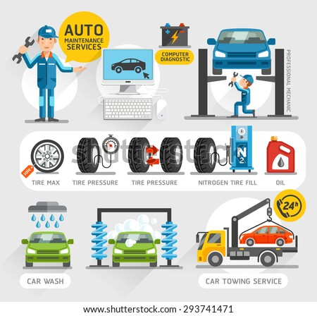 Auto Maintenance Services icons. Vector illustration. - stock vector