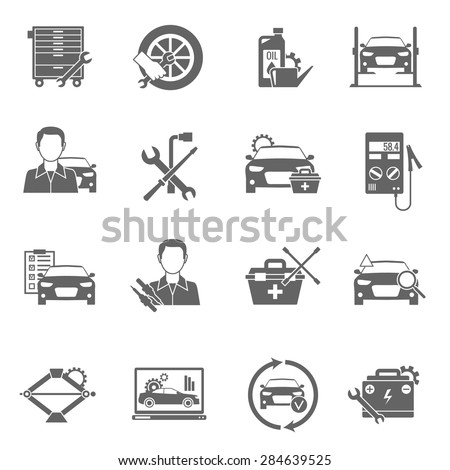 Auto mechanic and car technician work black icons set isolated vector illustration - stock vector