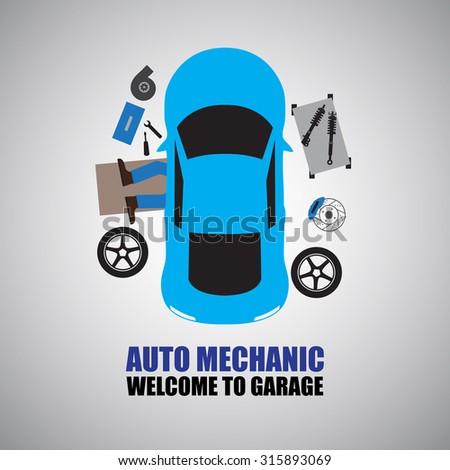 Auto mechanic,Car Mechanic Repairing Under Automobile  In the garage - stock vector