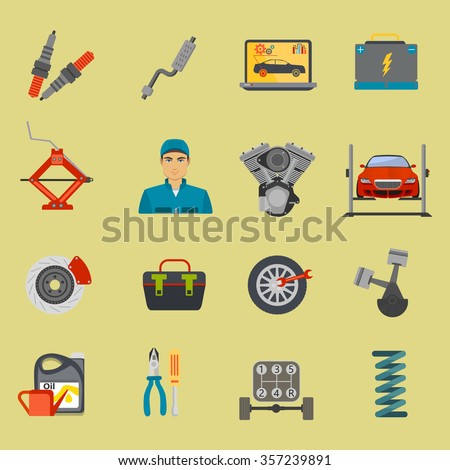 Auto mechanic car repair service flat icon set  - stock vector