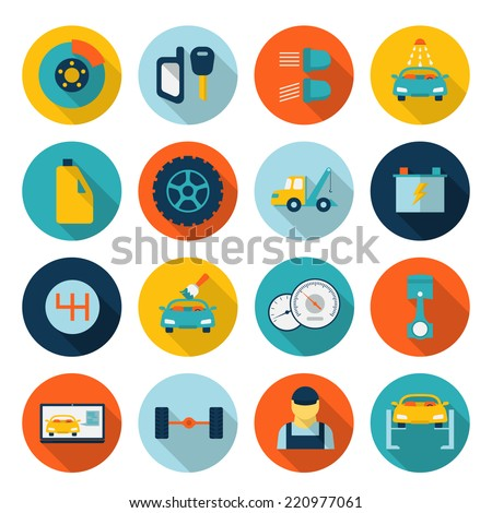 Auto mechanic car service flat icon set - stock vector