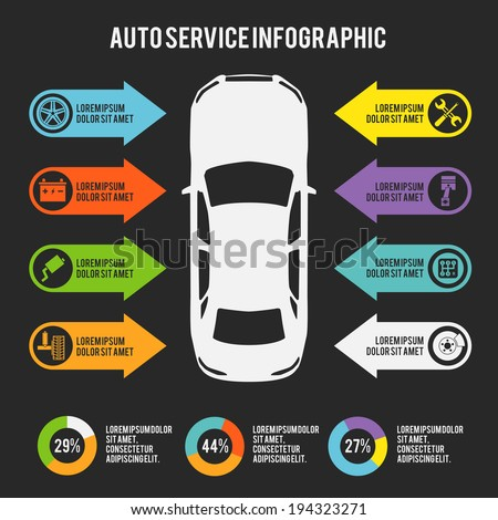 Auto mechanic car service infographic template with charts and maintenance elements vector illustration - stock vector