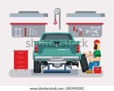 Auto mechanic fixing car in auto repair garage flat vector illustration - stock vector