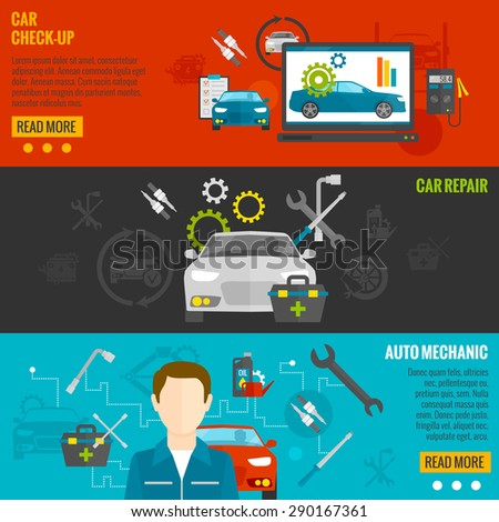 Auto mechanic horizontal banner set with car check-up and repair elements isolated vector illustration - stock vector