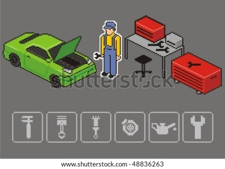 Auto mechanic repair a car. Vector isometric illustration. - stock vector