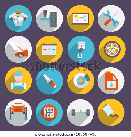 Auto mechanic service and maintenance icons of car elements tools and vehicle parts isolated vector illustration - stock vector