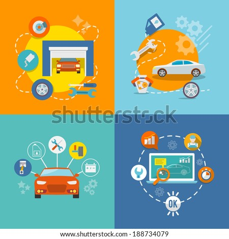 Auto mechanic service flat icons of maintenance car repair and working isolated vector illustration - stock vector