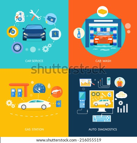 Auto mechanic service flat icons of maintenance car repair. Set of car wash clean non stop auto. Gas fuel station car oil petrol auto service concept. Car service car wash gas station auto diagnostics - stock vector
