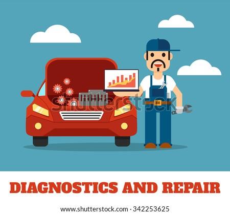 Auto mechanic service. Vector flat illustration - stock vector