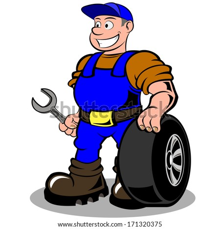 auto mechanic with wheel vector illustration isolated on white background - stock vector