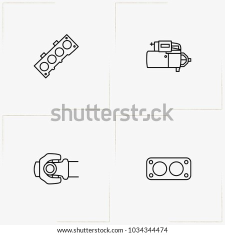 Auto Parts Line Icon Set Motor Stock-Vektorgrafik 1034344474 ...