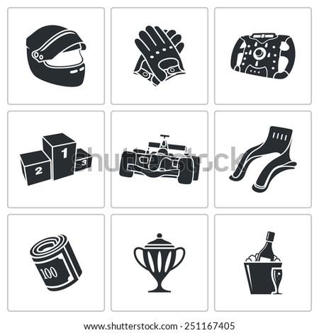 Auto Racing Icons Set - stock vector