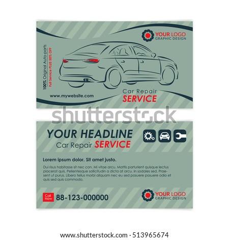 Auto repair business card template create stock photo photo vector auto repair business card template create your own business cards mockup vector illustration reheart Choice Image