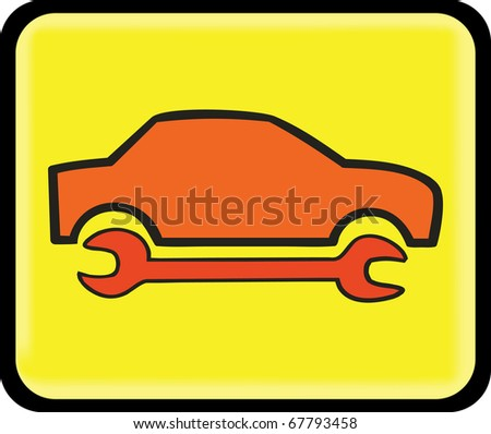 auto repair, service icon, on the yellow background sign - stock vector